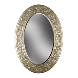 Kenroy - Kenroy 60026 Argento Wall Mirror - A boldly scaled version of an antique European style, Argento combines artisan details with an oval beveled mirror in a hand applied Gold/Silver finish.