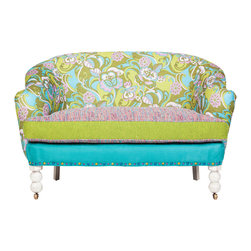 "Salmagundi - 'Jillian' Petite Settee - Shades of green and turquoise accented with orchid, ""Jillian"" sports a modern look with a retro vibe. Multicolor nails and a rubbed Bisque finish complete the look. Made in USA"