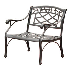 Crosley - Sedona Cast Aluminum Club Chair in Charcoal Black Finish - It may be hot outside, but you'll feel cool kicking back in our heavy duty, solid-cast aluminum furniture. Designed for style and built to last, this armchair features a durable charcoal black powder coated finish that will weather the harshest of outdoor conditions. Experience pure nirvana while unwinding in the chair's comfortable contoured seats. Your very own outdoor oasis awaits you.