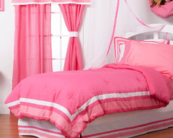 "Simplicity Hot Pink - Full Set (8pc) - Let the simple side of Simplicity Hot Pink bring out the sweetness in your room!  Simplicity Hot Pink is nothing too sweet for any personality!  Beautiful hues of pink with white throughout make the most of this set.  This 8pc set includes full comforter, full bed skirt, full flat sheet, full fitted sheet, 2 standard pillowcases, 2 standard flanged pillow shams. Comforter comes a beautifully framed design in shades of pink, light pink and white.  Opposite side is in solid darker pink.  All in cotton print fabric.  Flat and fitted sheets come with our signature ""Pink Dots"" cotton print fabric.  Standard pillowcase comes in solid pink and trim in ""Pink Dots"" cotton print fabrics.   Bed skirt designed with lines of white and both color pinks in cotton print fabric.  Standard flanged sham designed to replicate comforter in design.  All in cotton print fabric.  SAVE WHEN YOU BUY AS A SET!"