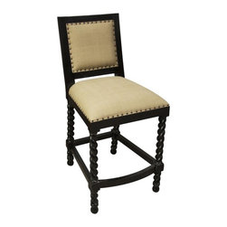 NOIR - NOIR Furniture - Twist Leg Counter Stool in Hand Rubbed Black - GSTOOL203HBS-C - Features: