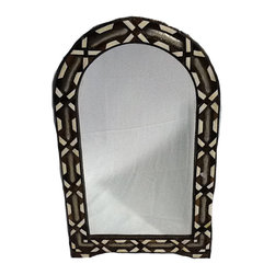 Home Accessories - Moroccan Mirror made of cedar wood with camel bone inlaid and silver  metal hand embossed with Moorish design.