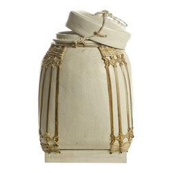 Foreign Affairs Home Decor - Decorative Bamboo Storage Containers NASI, White, Medium - These bamboo containers were used to store rice and other commodities. Now there are more sculpture than everyday objects but can be used safely to store everything from spices to laundry.