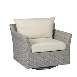 Frontgate - Club Woven Swivel Outdoor Lounge Chair with Cushions - Ideal for any environment, including oceanfront and saltwater destinations. high-quality; resin wicker provides superior UV resistance and is formulated for a realistic look and feel. Offered in Oyster or French Linen finish. U clips slide over the top edge of each seat frame to secure attachment. Cushions feature exclusive Sunbrella® fabrics, the finest solution-dyed, all-weather material available. The Club Woven Swivel Lounge by Summer Classics features elemental styling with items that can mix with other collections or combine together to create an inviting outdoor room. Durable wrought aluminum frames are hand woven with high-quality; all weather resin wicker, providing high UV resistance and an authentic look and feel. These innovative materials, blended with Club Woven's classic style, offer the perfect outdoor retreat for any open-air setting, including beach and salt water environments. . . . . Cushions feature exclusive Sunbrella fabrics, the finest solution-dyed, all-weather material available. Note: Due to the custom-made nature of the cushions, any fabric changes or cancellations made to the Club Woven Collection by Summer Classics must be made within 24 hours of ordering.