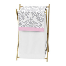 Sweet Jojo Designs - Elizabeth Pink and Gray Damask Laundry Hamper by Sweet Jojo Designs - The Elizabeth Pink and Gray Damask Laundry Hamper by Sweet Jojo Designs, along with the bedding accessories.
