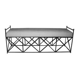 "Noir Trading - Metal Industry Bench - Combine the industrial feel of a metal frame with a comforting and timeless light linen covered cushion and you get the Metal Industry Bench.  The ""X"" design along the base still allows for a sense of openness allowing a proper view of that stylish rug you recently purchased. The delightful piping that outlines the top of the cushion is a small detail that makes the difference.  The Metal Industry Bench is at home in either a contemporary or traditional setting and we are certain this bench will meet your decor needs."