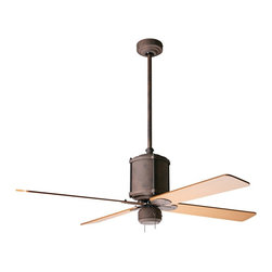 """Period Arts - 52"""" Industry Rust Finish Ceiling Fan - The Industrial Age at the turn of the 20th Century gave us pragmatic design with function expressing itself as form. The Industry fan embodies the no-frills attitude of the movement. Although authentic in design and appearance this fan offers modern motor design electronic controls and a lifetime motor warranty. It features a rust finish motor with maple finish blades. From the Period Arts Fan Company. Rust finish motor. Four maple finish blades. Lifetime manufacturer motor warranty. Includes wall control. Overall height 17"""" to 24"""". Includes 2"""" and 9"""" downrods. Canopy 5 1/4"""" wide. 52"""" blade span.  Rust finish motor.   Four maple finish blades.   Lifetime manufacturer motor warranty.   Includes 4-speed fan only wall control.   Overall height 17"""" to 24"""".   Includes 2"""" and 9"""" downrods.   Canopy 5 1/4"""" wide.   52"""" blade span."""