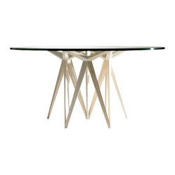 ecofirstart.com - Prism Round Dining Table - This geometric wonder of a table was crafted with exacting mathematical angles, and will add order and structural beauty to your decor. The sleek, minimalist round table top is the perfect complement to the intricately sculpted base, all made of sustainable wood and organic materials.