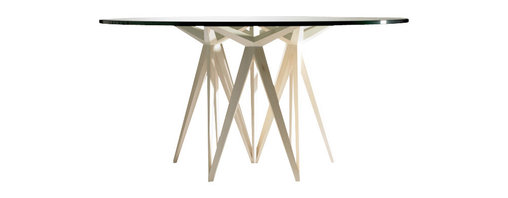 ecofirstart - Prism Round Dining Table - This geometric wonder of a table was crafted with exacting mathematical angles, and will add order and structural beauty to your decor. The sleek, minimalist round table top is the perfect complement to the intricately sculpted base, all made of sustainable wood and organic materials.