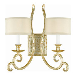 Candice Olson - Lucy Soft Gold Crystal Curled Iron 2 Light Sconce - The soft gold ironwork of this splendid two light sconce brightens any room or hallway you place it in.  The delicate poly silk shades cover the bulbs keeping your attention on the elegant curled fixture.