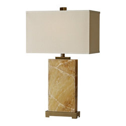 """Raschella - Raschella Solid Marble Base Table Lamp - Rectangular shapes form the design of this contemporary table lamp boasting a base of natural solid marble. Satin brass metal adorns the base and cap and a decorative finial finishes it off. Includes an on/off line switch. A spectacular lamp by Raschella. Marble and metal construction. Satin brass finish. Off-white hardback fabric shade. Takes one 100 watt 3-way bulb (not included). 29"""" high. Shade is 17"""" wide 10"""" deep and 11"""" high.  Marble and metal construction.   Satin brass finish.   Off-white hardback fabric shade.   Takes one 100 watt 3-way bulb (not included).   29"""" high.   Shade is 17"""" wide 10"""" deep and 11"""" high."""