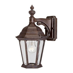 Joshua Marshal - One Light Walnut Patina Clear Beveled Glass Wall Lantern - One Light Walnut Patina Clear Beveled Glass Wall Lantern