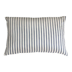 Pillow Decor - Pillow Decor - Catalina Ticking Blue 16x24 Throw Pillow - Hand-woven and yarn dyed, the Catalina Ticking Pillow is 100% cotton. Alternating vertical stripes of cream, indigo and soft pale blue show off the simplicity and the subtle style to this pillow. The traditional yet contemporary Indian design is cleverly casual and combines easily with the other pillows in similar tones. Try the Catalina ticking pillow with block prints, ikats, solids and textures for a sophisticated decor statement.
