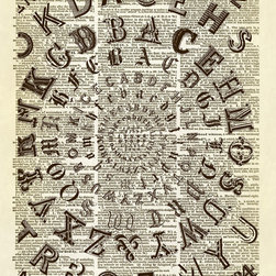Altered Artichoke - Circular Alphabet Dictionary Art Print, Sepia - This print features an antique type sampler. We love typography. We bet you do too.