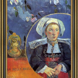 """Art MegaMart - Paul GauguLa Belle Angele (Madame Angele Satre  Inkeeper Pont-Aven) - 18"""" x 24"""" Paul Gauguin La Belle Angele (also known as Madame Angele Satre  the Inkeeper at Pont-Aven) framed premium canvas print reproduced to meet museum quality standards. Our Museum quality canvas prints are produced using high-precision print technology for a more accurate reproduction printed on high quality canvas with fade-resistant, archival inks. Our progressive business model allows us to offer works of art to you at the best wholesale pricing, significantly less than art gallery prices, affordable to all. This artwork is hand stretched onto wooden stretcher bars, then mounted into our 3 3/4"""" wide gold finish frame with black panel by one of our expert framers. Our framed canvas print comes with hardware, ready to hang on your wall.  We present a comprehensive collection of exceptional canvas art reproductions by Paul Gauguin."""