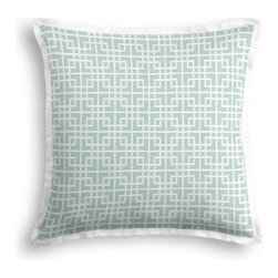 Aqua Woven Square Lattice Custom Throw Pillow - The Tailored Throw Pillow is an updated, contemporary pillow style with the center fabric framed by a thin contrast flange.  Voila!-it's artwork for your couch! We love it in this interlocking square trellis woven in aqua blue and white with a hint of sheen. Equal parts plush and posh.