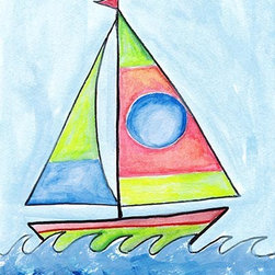 Oh How Cute Kids by Serena Bowman - Sailboat 1, Ready To Hang Canvas Kid's Wall Decor, 16 X 20 - Each kid is unique in his/her own way, so why shouldn't their wall decor be as well! With our extensive selection of canvas wall art for kids, from princesses to spaceships, from cowboys to traveling girls, we'll help you find that perfect piece for your special one.  Or you can fill the entire room with our imaginative art; every canvas is part of a coordinated series, an easy way to provide a complete and unified look for any room.