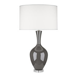 "Robert Abbey - Contemporary Robert Abbey Audrey Ash Gray Buffet Lamp - This modern buffet lamp in ash gray glaze ceramic is ideal when a chic splash of solid contemporary color is desired in a room. Vase shape base and fondine fabric drum shade will complement any number of home decor styles. Polished nickel accents adorn the neck and a round clear acrylic stand is attached at the bottom. A beautiful contemporary design from Robert Abbey lighting. Ceramic construction. Ash gray glaze. Polished nickel accents. Fondine fabric shade. Takes one 150 watt bulb (not included). 33 1/2"" high. Shade is 18 1/2"" across the top 19"" across the bottom and 11 1/2"" high. Lucite stand is 5"" wide.  Ceramic construction.  Ash gray glaze.  Polished nickel accents.  Fondine fabric shade.  From the Robert Abbey lighting collection.  Made in USA.  Takes one 150 watt bulb (not included).  Shade is 18 1/2"" across the top 19"" across the bottom and 11 1/2"" high.  Lucite stand is 5"" wide."