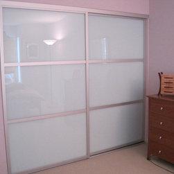 "Sliding Glass Closet Doors | The Sliding Door Company - Milky glass sliding closet doors from The Sliding Door Company, ""Trio"" (or Triple) design"