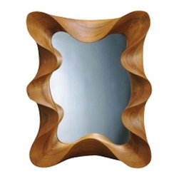 EcoFirstArt - Cherry Taffy Mirror - The ripple effect: This absolutely stunning mirror is created with a frame of fluid ribbons carved from cherry wood. It makes an unforgettable focal point over a console, hall table or bedroom dresser. Proof positive that even smaller furnishings can have a sizable effect on your room's style.
