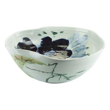 John Richard - John Richard Curled Rim Extra Large Bowl JRA-9021 - A curled rim extra large porcelain bowl is glazed in ox blood and green.
