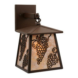 "Meyda Lighting - Meyda Lighting 7.5"" W Stillwater Grapes Hanging Wall Sconce - Bold Bunches Of Grapes Accent This Handsome American Craftsman Lantern. The Fixtures Are Powder Coat"
