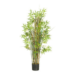 Nearly Natural - Nearly Natural 5' Bamboo Grass Silk Plant - The perfect way to express an eccentric and whimsical style, this magical grass plant surrounded by bamboo is sure to elicit a comment from all who view it. A full 5 feet high, this slender wispy plant is decorated with over seven-hundred bright finely detailed leaves. A mix of delicate bamboo stalks encompass this natural looking plant, extending gracefully between lush green foliage. Fits nicely beside an office desk or display it proudly in a home foyer to greet guests.