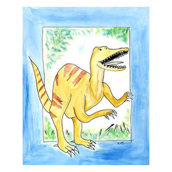 Oh How Cute Kids by Serena Bowman - Rapping Raptor, Ready To Hang Canvas Kid's Wall Decor, 16 X 20 - It is hard to make a Raptor lovable so I let it true nature come thru,  Part of my ever growing Dinosaur Series!