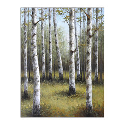 "Uttermost - ""Birches In Spring"" Hand-Painted Art - In this original piece of art, you really can see the forest through the trees. It's painted by hand, so each will have subtle differences in tone and texture."