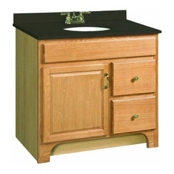 "DHI-Corp - Richland Nutmeg Oak Vanity Cabinet with 1-Door and 2-Drawers, 36"" by 33.5"" - The Design House 541151 Richland Nutmeg Oak Vanity Cabinet features a nutmeg oak finish with a water resistant seal. This product has a rustic shabby chic design, meshing modern construction with vintage aesthetics, and has a 1-door, 2-drawer design. With a solid door frame and drawer fronts, this vanity measures 36-inches by 18-inches by 33.5-inches and is built to withstand years of repeated use. With a country living design, this vanity graces your home with its bright finish and clean lines. This product is perfect for remodeling your bathroom and matches painted cabinets and granite counter tops. This product is CARB compliant, which means it adheres to the toughest production standards in the world for formaldehyde emissions (in wood composite paneling). Design House 541151 Richland Nutmeg Oak Vanity Cabinet has a 1-year limited warranty that protects against defects in materials and workmanship. Design House offers products in multiple home decor categories including lighting, ceiling fans, hardware and plumbing products. With years of hands-on experience, Design House understands every aspect of the home decor industry, and devotes itself to providing quality products across the home decor spectrum. Providing value to their customers, Design House uses industry leading merchandising solutions and innovative programs. Design House is committed to providing high quality products for your home improvement projects."