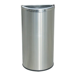 """Commercial Zone - Precision Series Half Moon Trash Can - Space-saving Stainless Steel waste container; designed with a flat side to fit easily against any wall, column or other fixtures. Features: -Convenient open top disposal; perfect near coffee bars, ATM machines, lotto ticket stations, reception desks, lobbies and more. -Constructed from heavy gauge 304 grade steel; won't easily rust. -Hygienic surface; no pores to harbor dirt or bacteria. -Equipped with rubber base ring; keeps unit in place and protects floors. -Cost effective with long-term performance and low maintenance. -Galvanized liner with handle included for easy trash removal. -Includes 1 year product warranty. -Overall Dimensions: 26"""" H x 13.5"""" W x 6.75"""" D."""