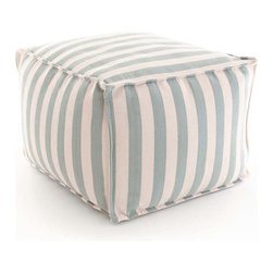 Trimaran Stripe Light Blue/Ivory Indoor/Outdoor Pouf - Light stripes of French blue alternate with equally wide bands of ivory in this pouf, a light-colored accent which is as excellent for giving a furnished yet ephemeral look to an outdoor space as it is for encouraging casual lounging indoors.  The Fresh American Trimaran Stripe Pouf features trim turned-out edges that lend a little more structure to the look of its soft, plump cubic form.