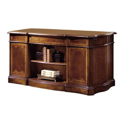 Hooker Furniture - 60-Inch Desk - Preside over your office with this grand hardwood desk. With inlaid wood design work and classic scalloped lines, the desk houses drawers and cabinets that store away all of your important documents. With a bookshelf at the back of the desk, you'll have your most-referenced volumes at arm's length.