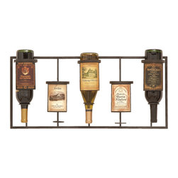 ecWorld - Urban Designs Vineyard Selections Wall Mounted Wine Rack - 5 Bottle Display - Display your wine collection in vintage style with this hanging wine rack. With hanging room for five bottles, it is the easiest way to organize your fine collection.