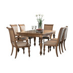 American Drew - American Drew Grand Isle 9-Piece Leg Dining Room Set in Amber - The Grand Isle collection is a lifestyle bedroom and dining room group that offers high end, yet casual up to date tropical style with multiple options for any room of the home; creating a collection that is perfect for many homes, vacation homes or even smaller size vacation condos. The amber finish has a warm overtone with subtle dark burnished accents that make the natural soft distressing show through. Design elements used in Grand Isle include carved and shaped pilasters, woven drawer fronts and a louver motif; all adding a higher end look to the collection. This collection is sure to add a relaxed, yet sophisticated style to most homes and offers plenty of options to help with storage and organization.