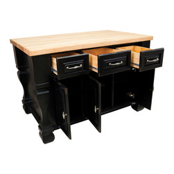 Hardware Resources - Hardware Resources ISL01 Kitchen Island, Without Top, Distressed Black - 53-1/2 in  Wide x 33-3/4 in Deep x 35-1/2 in High Kitchen Island by Lyn Design. Featuring soft-close undermount slides on drawers, soft-close European hinges, fully adjustable shelves and dovetail drawers.