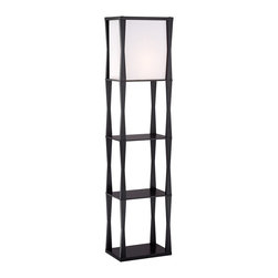 """Lamps Plus - Asian Haiku Etagere Floor Lamp - Get both lighting style and functional display space with the Haiku floor lamp. The design features an ebony finish frame with three shelves. Up top is a rectangular light with a fabric shade and an on-off pull chain. Takes one 150 watt bulb or equivalent (not included). Shelves are 15 1/2"""" wide 10 1/4"""" deep. 64 1/2"""" high. Shade is 16 1/2"""" high 15 3/4"""" wide and 12"""" deep.  Wood construction.  Ebony finish.  Drop-in box linen shade.  Use as an end table or office accent.  On/off pull chain switch.  Takes one 150 watt bulb or equivalent (not included).   64 1/2"""" high 15 1/2"""" wide 10 1/4"""" deep.  Shade is 14"""" wide 8 1/2"""" deep 16"""" high.  Shelf heights are 16 1/2"""" and 32 1/4"""" from floor."""