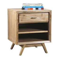 Kathy Kuo Home - Cape Cod Whitewash Coastal Beach Modern Wood Nightstand - Add a coastal cottage touch with this charming whitewashed wood side table. Two shelves and a spacious drawer offer storage space for a guest room or den. Finishing details are antique brass, adding nautical flair to this rustic piece.