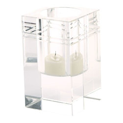 Lazy Susan - Lazy Susan Square Crystal Collar Votive - Small X-420923 - Made from crystal
