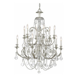 "Crystorama - Regis Chandelier - Large - Clear Hand Cut Crystal Wrought Iron Chandelier. Takes 12 - 60 w/c bulbs. Chain: 72"" Wire: 120"""