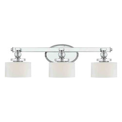 Quoizel Lighting - Quoizel DW8603C Downtown Polished Chrome 3 Light Vanity - 3, 60W Frosted G9 Halogen, Bulbs Included