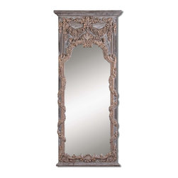 Uttermost - Uttermost Adalina Vine Gold Mirror 14313 P - This stately mirror features an ornate vine and shell design finished in heavily antiqued gold leaf with burnished edges, dark gray wash and dark chestnut brown details.