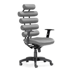 Zuo Modern - Unico Office Chair, Grey - Unico Office Chair is made from a steel tube frame with adjustable height, locking tilt mechanism that can be locked into place, and the arms are height adjustable. Unico is beautiful and functional, it offers excellent lumbar support.