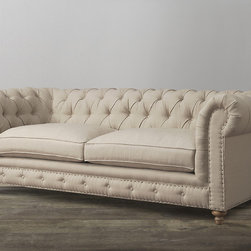 None - Oxford Beige Linen Sofa - Our version of the classic Chesterfield style, the Oxford tufted sofa offers a cozy elegant look.