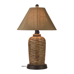 Patio Living Concepts - Patio Living Concepts 45933 South Pacific Outdoor Table Lamp - Add casual elegant styling to your outdoor living area. Features all resin construction with a heavy weighted natural woven bamboo style base. Completely weatherproof with a sesame Sunbrella shade cover, two level dimming switch and a 16 ft. cord. Unbreakable poly-carbonate waterproof light bulb. enclosure allows the use of a standard 100 watt light bulb..