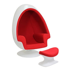 East End Imports - Alpha Lounge Chair And Ottoman - Red - The unconventional shape and construction of the Alpha Shell Egg Chair makes it perfect for sound isolation, a cozy quiet area to sit and read. Its chamber-like shape and upholstered interior cancels out most outside noise, providing a unique environment for meditation, relaxation or just getting away from it all.