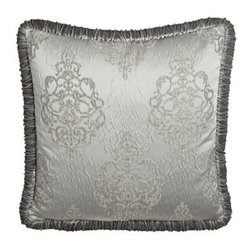 Dian Austin Couture Home - Dian Austin Couture Home Plisse European Sham w/ Jumbo Velvet Welt - Venetian Glass bed linens in frosted silver offer rich definition with a scrolled damask pattern that is texturally echoed in their plisse weave. Shirred velvet, fluffy fringe, and faux-fur add to the glamour. From Dian Austin Couture Home®. P...