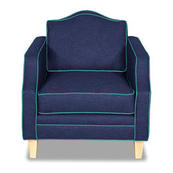 Apt2B.com - Blackburn Chair Navy Navy/Ocean Blue - With a classic silhouette, this Kyle Schuneman chair is a great mix of modern and traditional with beautiful color combos and a contrasting piping and natural wood legs.