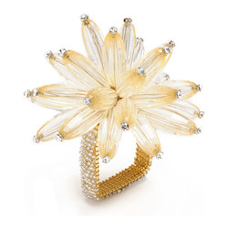 Constellation Napkin Ring - Firework sprays of long faceted beads adorn your napkins while square rings neatly confine them in the Constellation Napkin Rings. The designer element is made from a gorgeous, chrysanthemum-like cluster of translucent colored beads, while lush seed-beading brings the chic square base rings to match. These napkin rings are a beautiful addition of glistening texture and color to complete place settings planned to perfection. This item is sold individually.