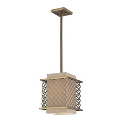 ELK - ELK 31029/1 Pendant - This Distinguished Metal Lace Pattern, Finished In Brushed Antique Brass, Is The Principle Design Feature Which Envelopes A Rich Cream Fabric Shade. A Frosted Amber Glass Diffuser Completes The Design While Masking The Direct Light For A Warm, Ambient Radiance.